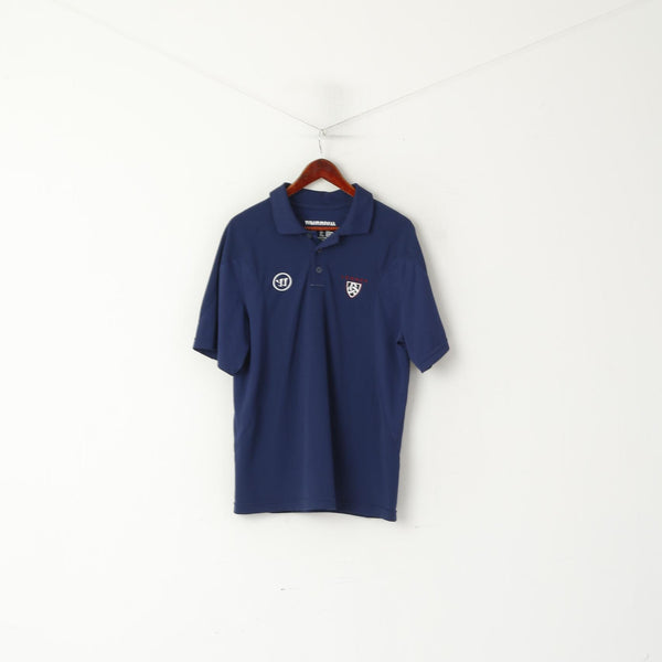 Warrior Men L Polo Shirt Navy Legacy Detailed Buttons Classic Jersey Top
