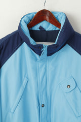 Huski Men 54 L Bomber Jacket Blue Padded Hidden Hood Full Zipper Italy Vintage Top