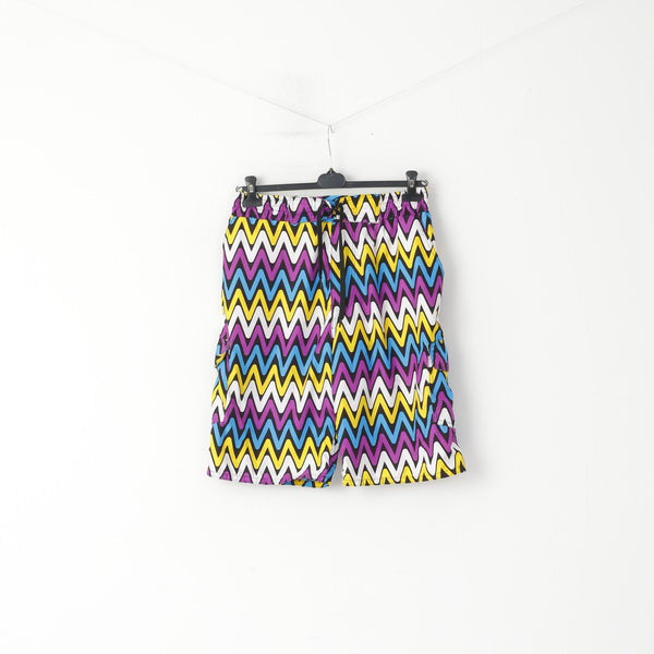Retro Men L Shorts Multicoloured Zigzag Bermuda Mesh Lined Summer