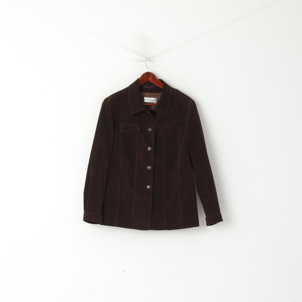 Marcona Women 18 44 XL Blazer Brown Cotton Corduroy Classic Jacket