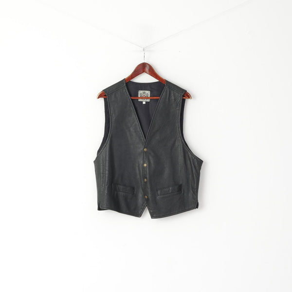 A.B.A Colllection Men 3XL (L) Waistcoat Black Leather Snaps Vintage Retro Vest