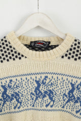 Paul & Shark Yachting Men M Jumper Beige Wool Vintage Made in Italy Sweater