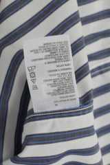 Nautica Men M Casual Shirt White Blue Striped Cotton Classic Fit Long Sleeve Top