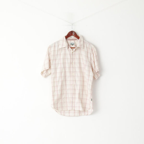 Paul Smith Jeans Men L (M) Casual Shirt Beige Checkered Cotton Detailed Buttons