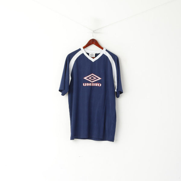 Umbro Men XL Shirt Navy Vintage Shiny V Neck Retro Jersey Sportswear Top