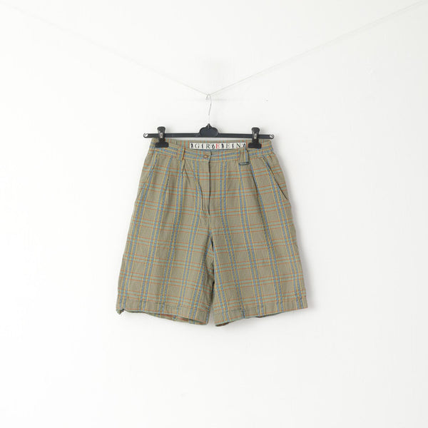 Redgreen Men 40 S Shorts Green Blue Check 100% Cotton Retro Summer