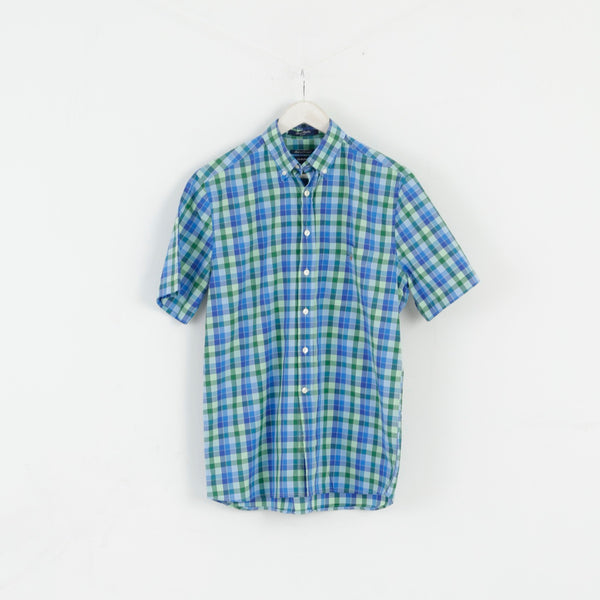 GANT Men M Casual Shirt Blue Check Sport Poplin E-Z Fir Short Sleeve Top