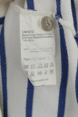 Maison Scotch Women 2 S Blouse White Blue Striped Cotton Short Sleeve Top