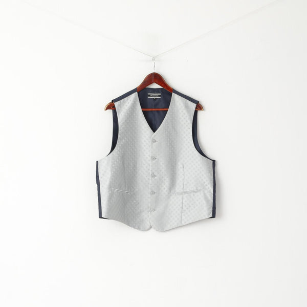 Mauro Ferrini Men 27 L Waistcoat Grey Navy Shiny Wedding Elegant Vest