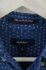 GANT Men M Casual Shirt Blue Cotton The Northville Fitted Long Sleeve Top