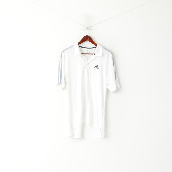 Adidas Men L Polo Shirt White Training Activewear Vintage Sport Jersey Top