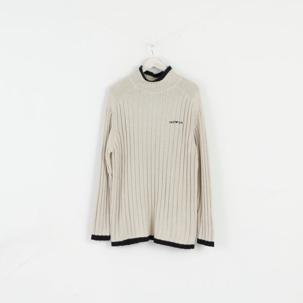 Giorgio Armani Men XL Golf Jumper Beige Acrylic Classic Stretch Sweater