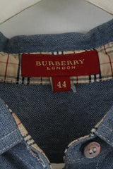 Burberry London Womens 44 S Shirt Sleeveless Blue Cotton Top Vest