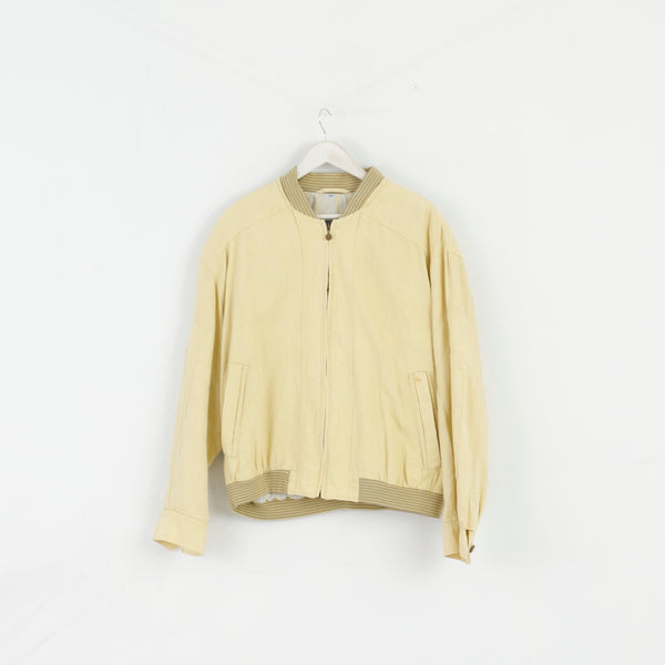 Camel Collection Men 54 M Bomber Jacket Light Yellow Linen Vintage Zip Up Top