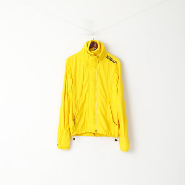 Superdry Women S Jacket Yellow Double Blacklabel Nylon 3 Zippers Lightweight Top
