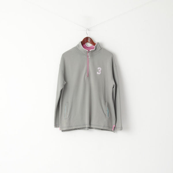 Joules Women L Sweatshirt Grey Cotton Zip Neck Pockets #3 Pullover Top