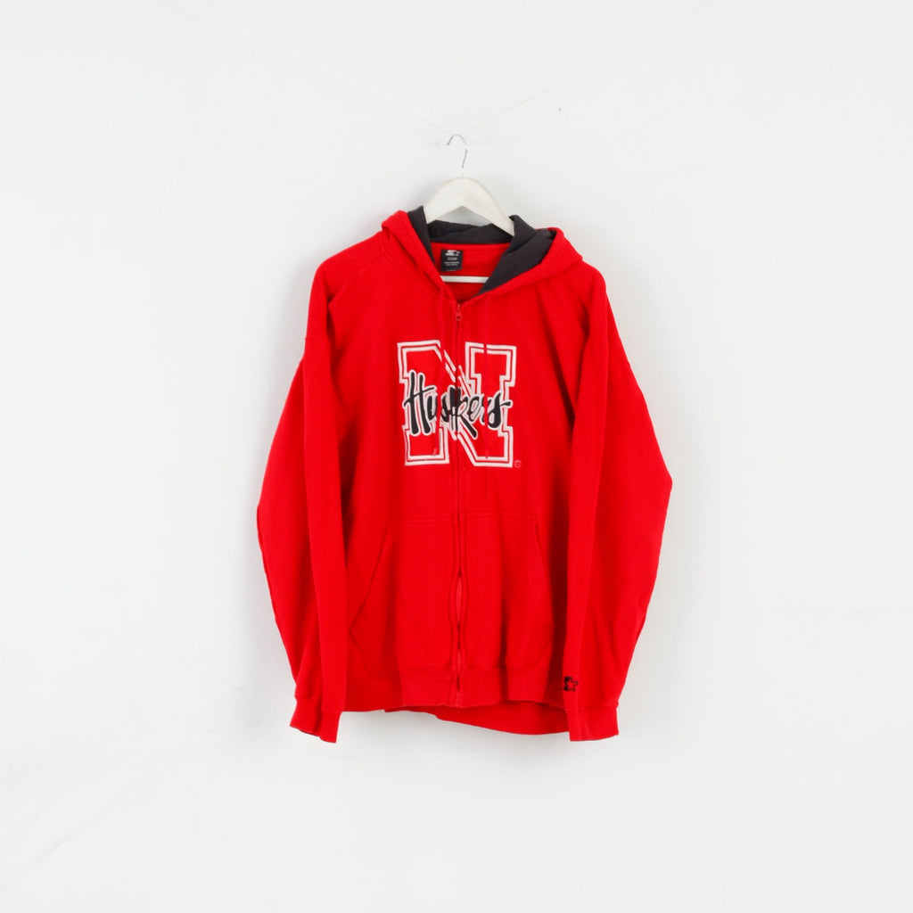 Starter Men XL Sweatshirt Red Cotton Huskers Basketball Zip Up Hoddie