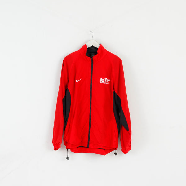 Nike Team Men L Jacket Red Nylon Out West Basketball Activewear Zip Up Top