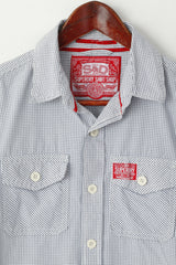 Superdry Men M (S) Casual Shirt Navy White Check Cotton Long Sleeve Pocket Top
