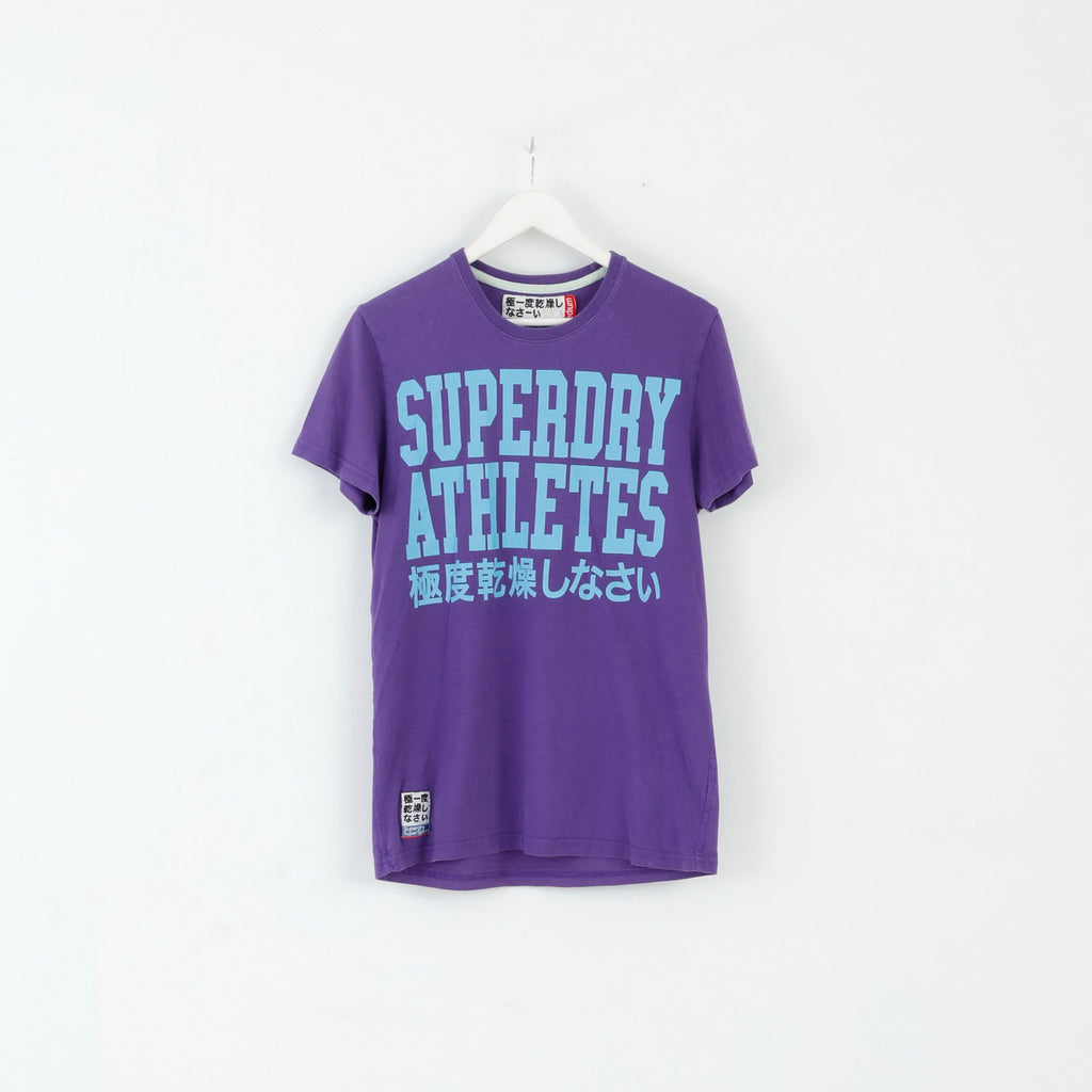 Superdry Mens M T-Shirt Purple Cotton Graphic #3 Slim Fit Top