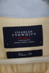 Charles Tyrwhitt Men L (XL) Casual Shirt Yellow Classic Fit Long Sleeve Cotton Top