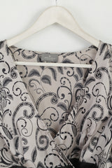 Jeff Banks Collection Womens 16 L Shirt Silver Thin Material Shiny Party Top