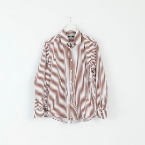 Hugo Boss Mens 42 16.5 L Casual Shirt Brown Striped Cotton Long Sleeve Regualr Top