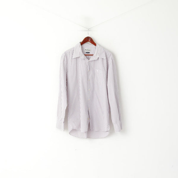 Barbour Men XXL Casual Shirt White Checkered Cotton Regular Fit Long Sleeve Top