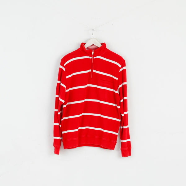 Pierre Cardin Men M Jumper Red Striped Cotton French Style Zip Neck Sweater