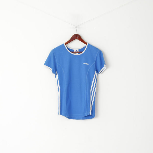 Adidas Women 10 38 S Shirt Blue Vintage Cotton Crew Neck Sport Top