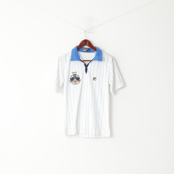 Fila Men XS Polo Shirt White Striped Reed's South Africa 2008 Cotton White line Top