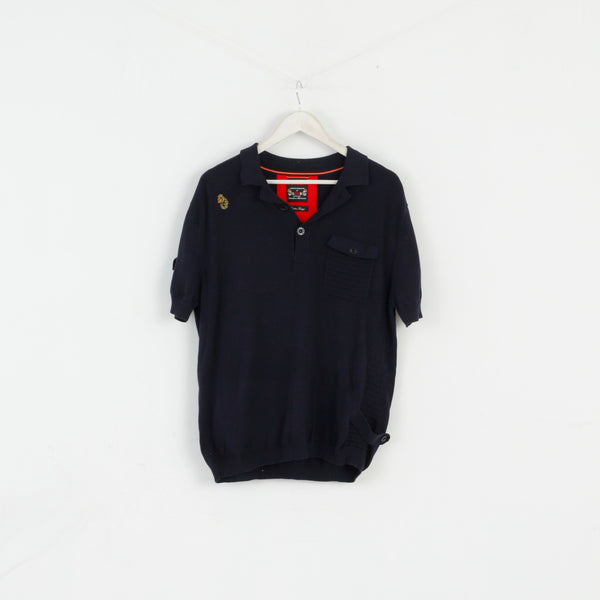 Luke 1977 Men XL Polo Shirt Navy Jumper Cotton Detailed Buttons Stretch Top