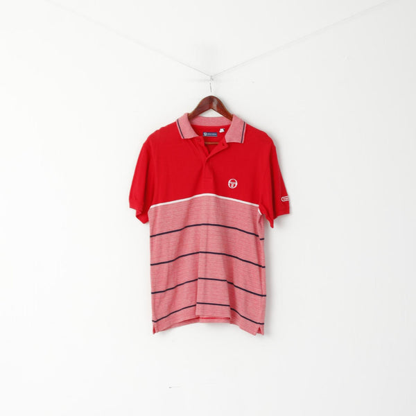 Sergio Tacchini Men L (M) Polo Shirt Red Cotton Striped Detailed Buttons Top