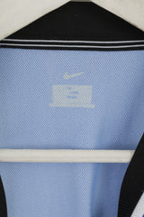 Nike Team Men XL Long Sleeved Shirt Blue White Striped Football Jersey Sport Top