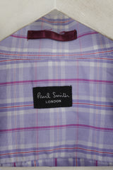 Paul Smith London Mens 16.5 42 XL Casual Shirt Cotton Purple Check Long Sleeve Top