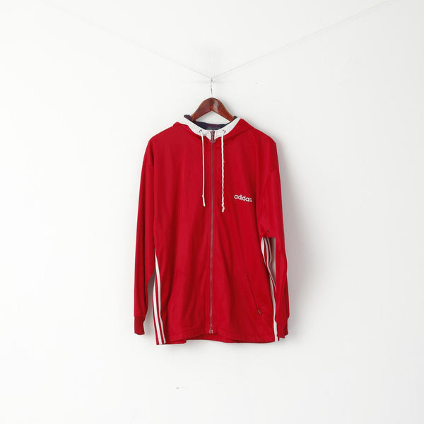 Adidas Men M Sweatshirt Shiny Red Vintage Full Zipper Hooded Oldschool Top