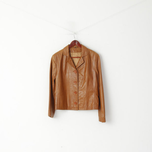 Vintage Women M Jacket Brown Leather Single Breasted Casual Blazer Top