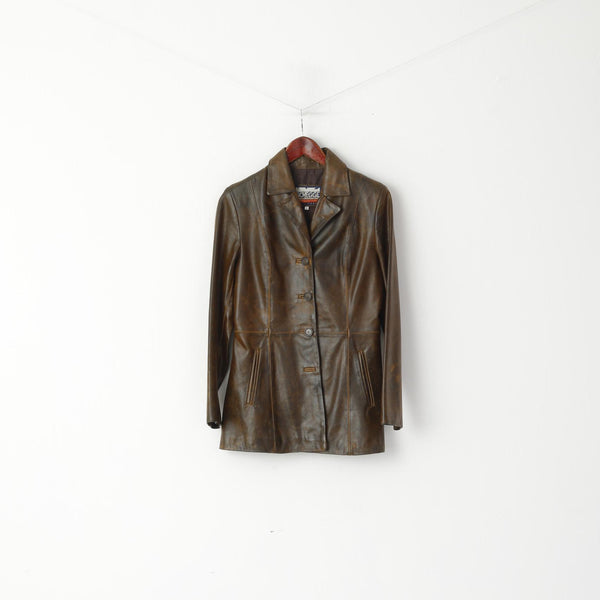 Schegge Women S Jacket Brown Leather Shade Faded Single Breasted Roma Firenze Top