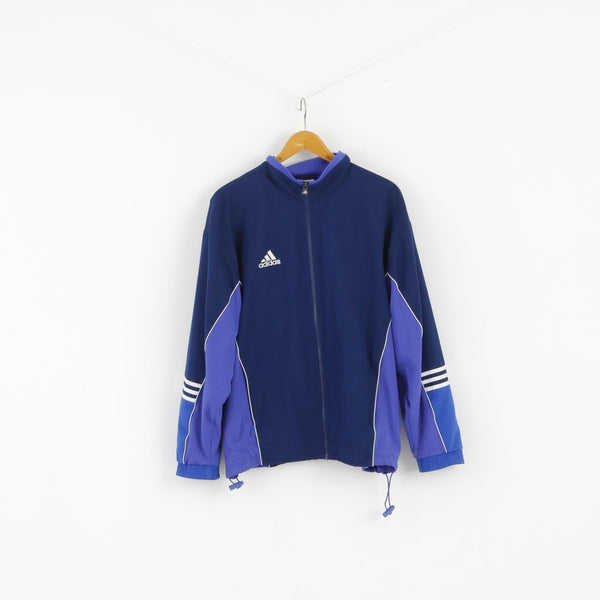 Adidas Men L 186 Jacket Navy Blue Full Zipper mesh Lined Vintage 90s Top