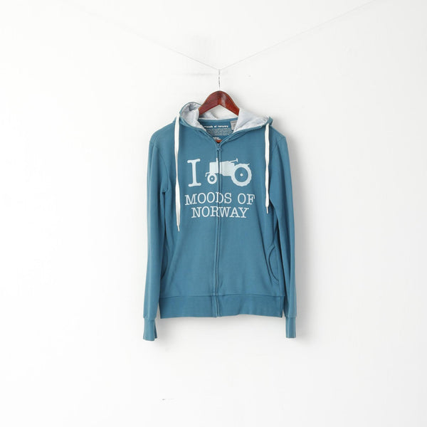 Moods of Norway Womes S Sweatshirt Turquoise Cotton Hooded Zip Hp Logo Top