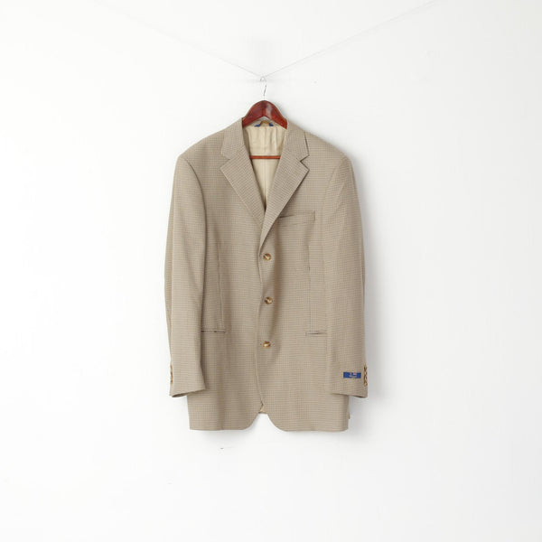 T. Harris London Men 44 L Blazer Beige Houndstooth Check Single Breasted Jacket