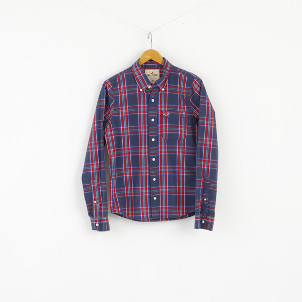 Hollister Men M Casual Shirt Navy Red Check Cotton Buttons Down Collar Top