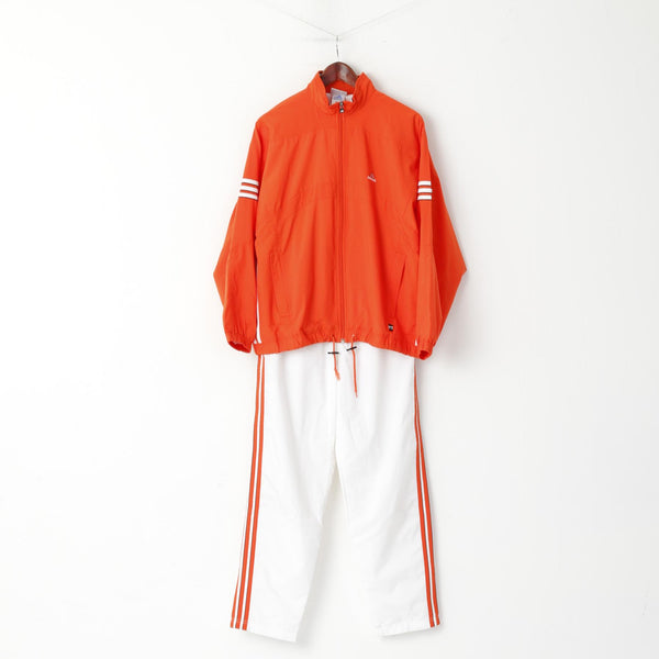 Adidas Women 12 38 M Tracksuit Orange Sportswear 3 Striped Track jacket Pants Set