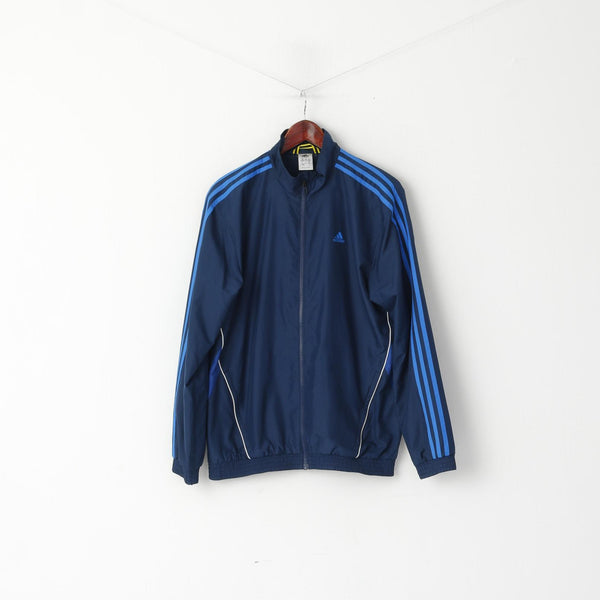 Adidas Men 38/40 M Jacket Navy Training Activewear Bomber Zip Up Top