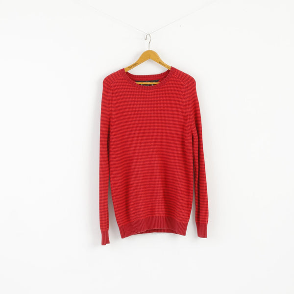Hilfiger Denim Women XL Jumper Red Crew Neck Cotton Striped Long Sweater