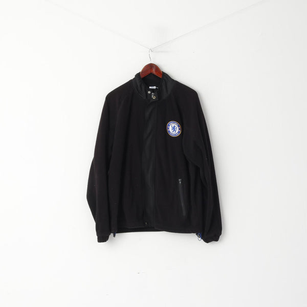 Chelsea Football Club Men XL Fleece Top Black Full Zipper Official Sport Top