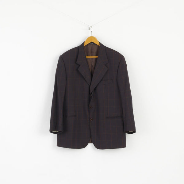 Emilio Rizzi Ferrini Men 54 Blazer Brown Navy Check Wool Single Breasted Made in Italy Jacket
