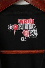 Twisted Gorilla Men XL T- Shirt Black Cotton Black Skate Skull Graphic Top