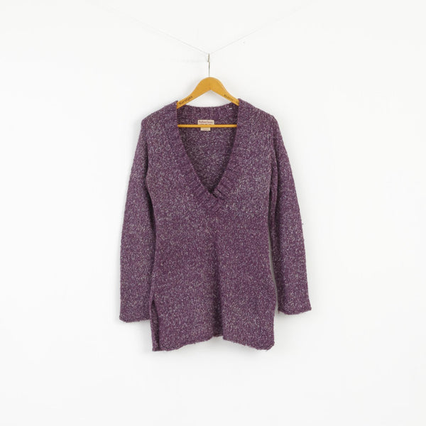 Marlboro Classics Women M Jumper Purple V Neck Wool Acrylic Blend Sweater