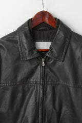 Maddison Men 52 L Jacket Brown 100% Leather Full Zipper Soft Classic Shoulder Pads Top